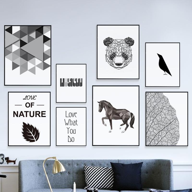 Minimalista de Alumínio Liga de Metal do Frame da Foto Cartazes da Arte da Parede da Lona Branco Preto Moderna Imprimir Imagem Decoração Nórdico Pintura Quadro