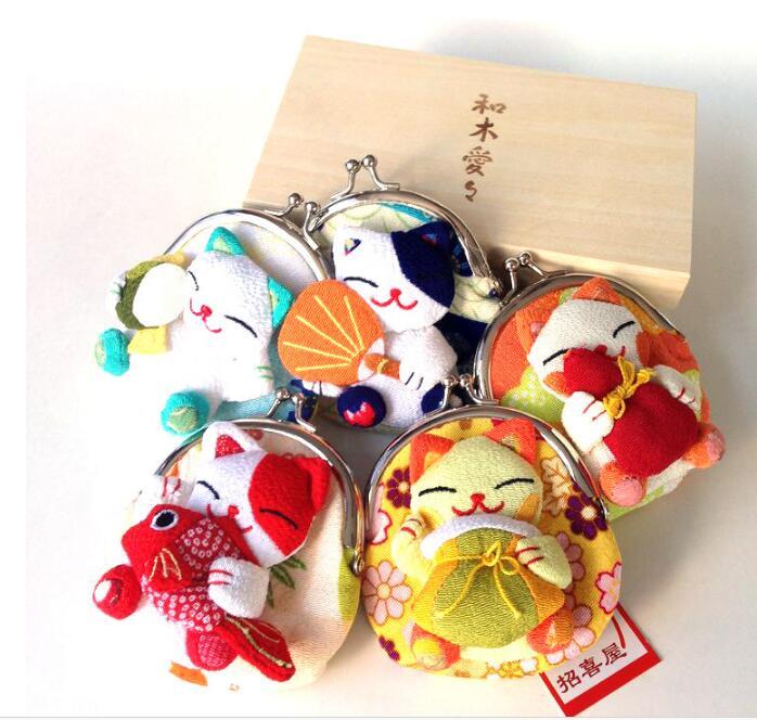 16 قطعة الجملة اليابانية نمط محظوظ القط محفظة للعملة عملة أكياس الصفر محفظة ثوب الكيمونو الياباني النسيج