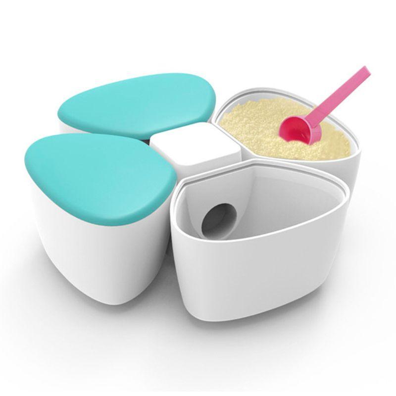 Baby Milk Powder Formula Dispenser Container Children Portable PP Case for Four-Trellis Storage Flower Shaped Sealed Feed Box
