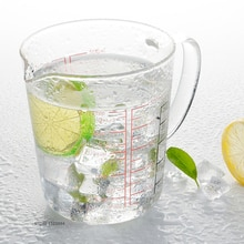 Bol de pâte en verre transparent de 500ml   1 tasse de mesure en verre transparent avec des mesures rouges pour la cuisson et la cuisson