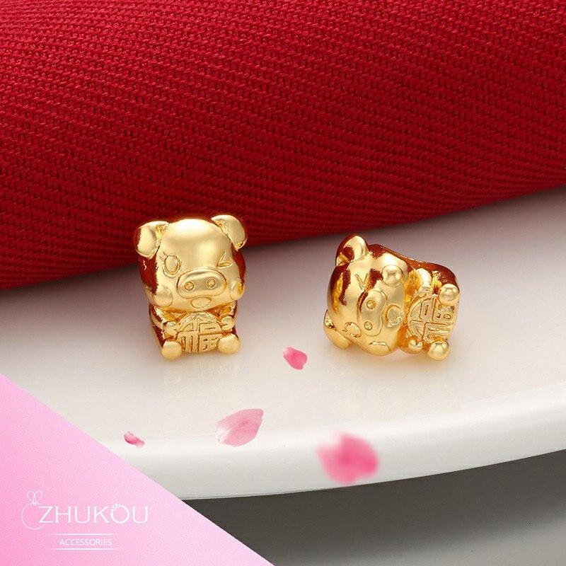 ZHUKOU 8x9 мм Золотая подвеска со свиньей из латуни с кубическим цирконием, маленький Chrams браслет для ювелирных изделий PZ14