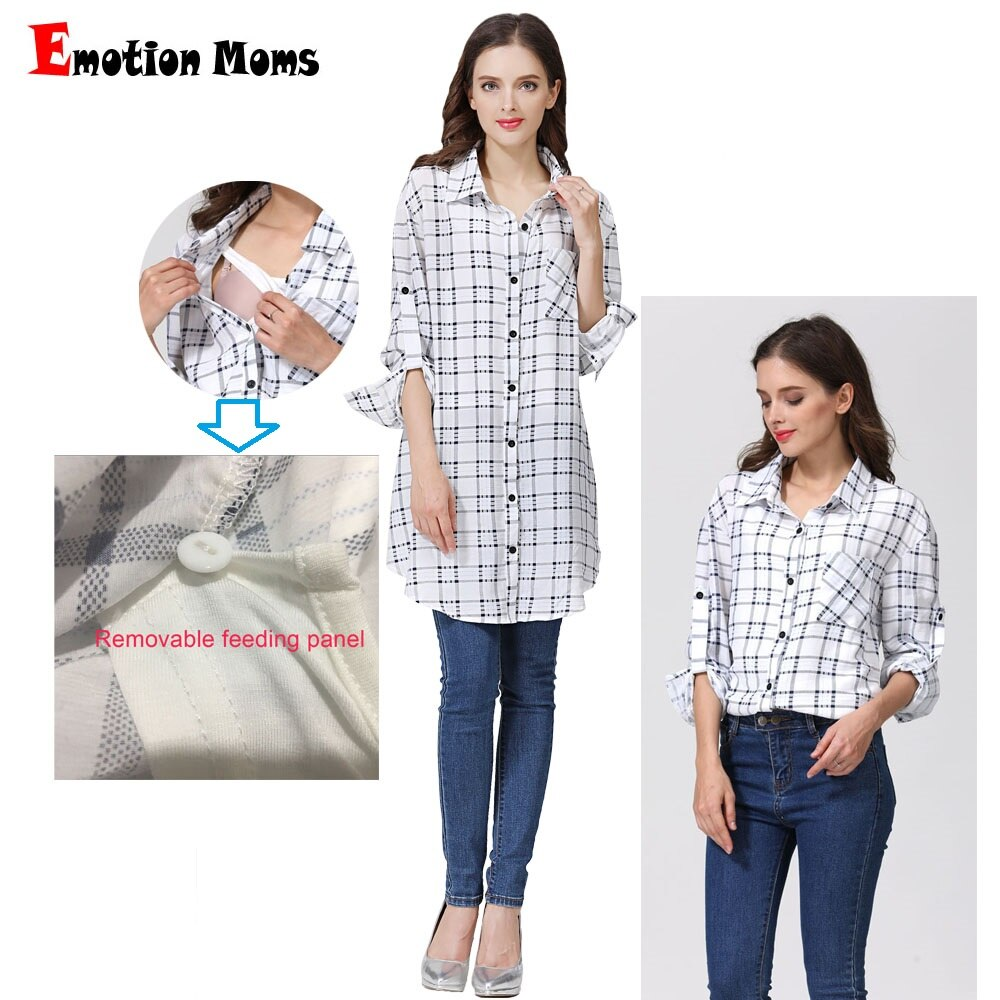Emotion Moms New Loose fashion Maternity clothes Long Maternity Tops Lactation top Breastfeeding t-shirt for pregnant women enlarge