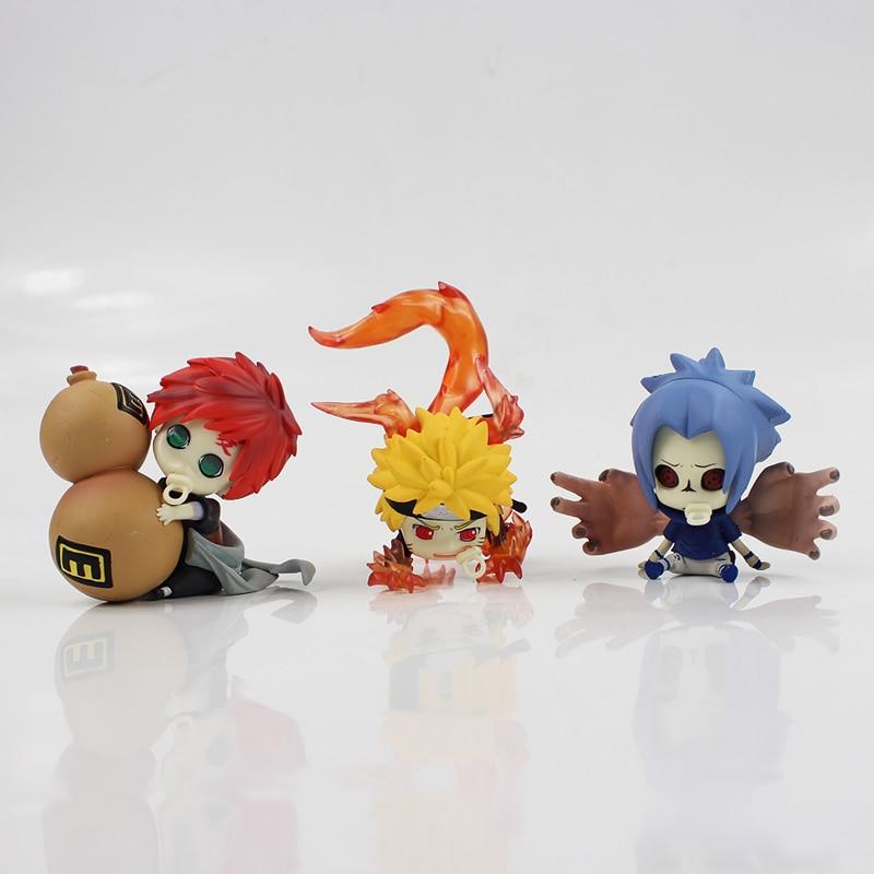 3 estilos 7cm Naruto Shippuden anime-dibujos Uzumaki Naruto Gaara Uchiha Sasuke Q versión PVC figura de juguete de modelo de colección regalo de los niños
