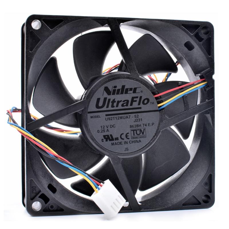 Nuevo ventilador original U92T12MUA7-52 9cm 9025 92x92x25mm 92mm 12V 0.25A 4 línea ordenador PWM chasis CPU ventilador de refrigeración