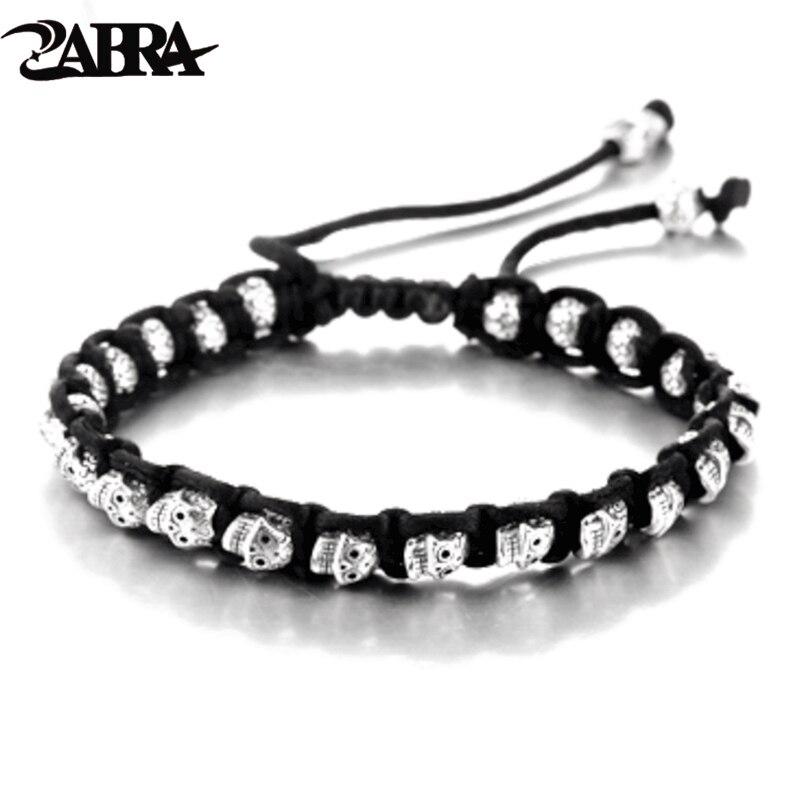 ZABRA Real 925 pulsera de plata para hombres, pulseras de cuerda de calavera Vintage para hombres, pulseras para mujeres hechas a mano, Joyería de Halloween de plata de ley para cumpleaños