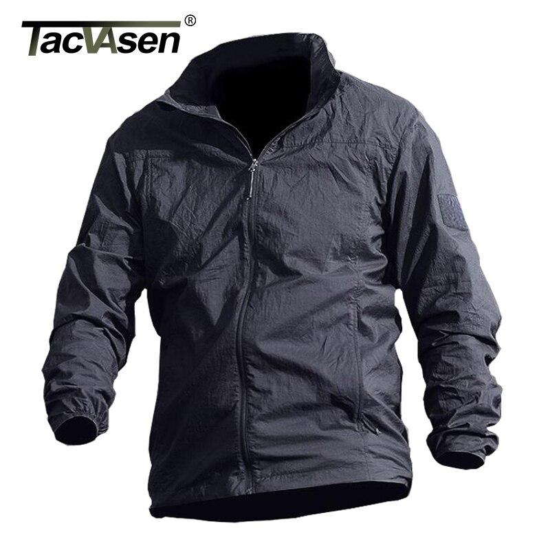TACVASEN chaqueta impermeable de verano de secado rápido de piel táctica impermeable con capucha para hombre cazadora delgada chaqueta militar del ejército TD-QZJL-013