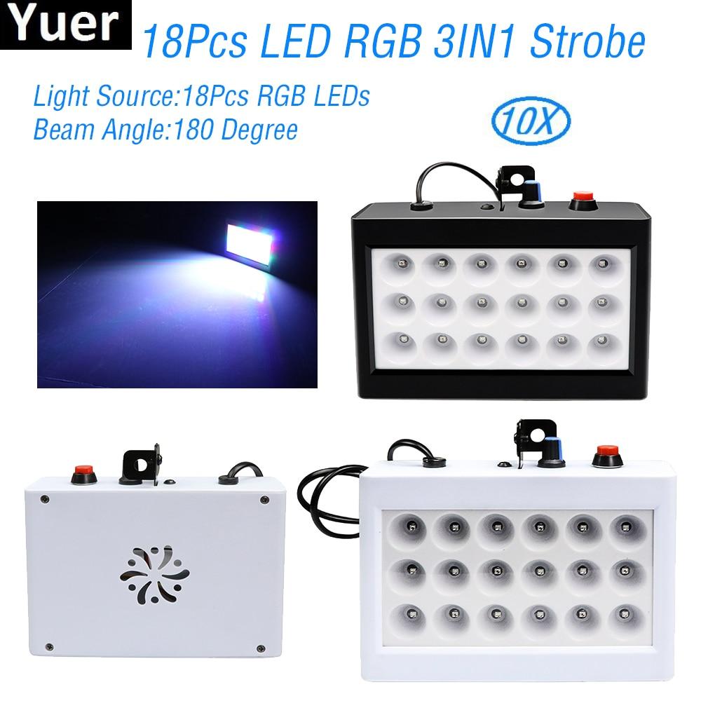 10Pcs/Lot Homeparty KTV Strobe Lights 18Pcs RGB LED Stage Effect Lighting Sound Auto Control DJ Disco Wedding Party Bar Light