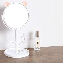 Miroir de maquillage de bureau rotatif princesse   Miroir rond Portable pour vanité, porte-bijoux, décoration de Table pour maison, dessin animé chat