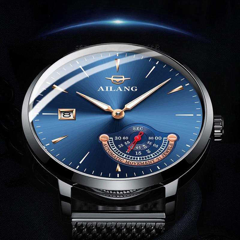 AILANG جنتلمان ساعة مكلفة الميكانيكية رجل الحد الأدنى نمط ساعة الفولاذ المقاوم للصدأ ساعة أوتوماتيكية غواص الساعات الرجال