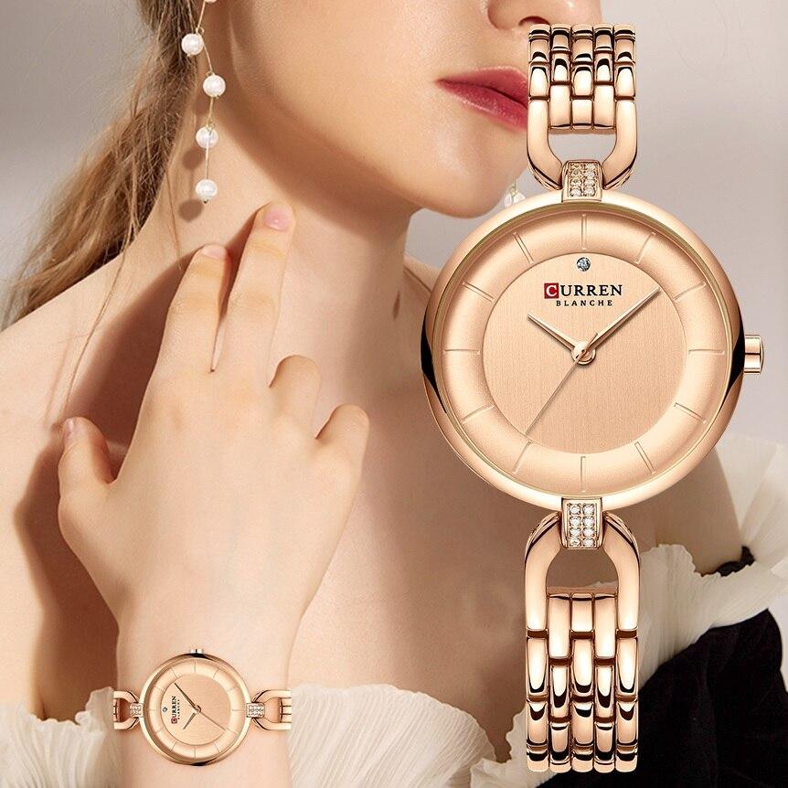 CURREN Fashion Womens Watches Rose Gold Slim Dial Rhinestone Quartz Wrist Watch Bracelet Reloj Mujer Clock Relogio Feminino Gift enlarge