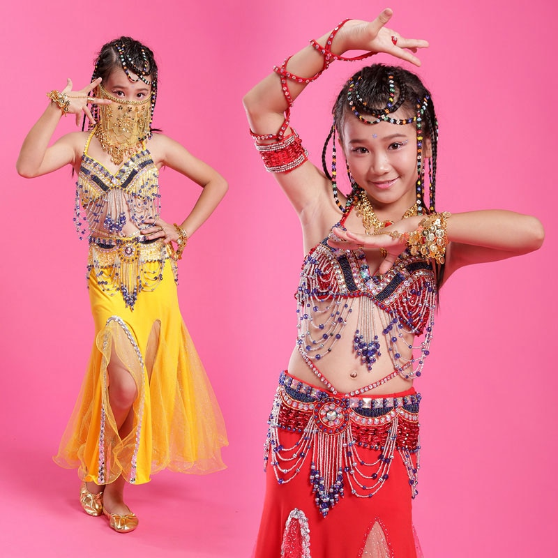 Girls Belly Dance 3Pcs set (top+skirt+belt) children high end good quality Professional bead tassel indian/egypt dance costumes