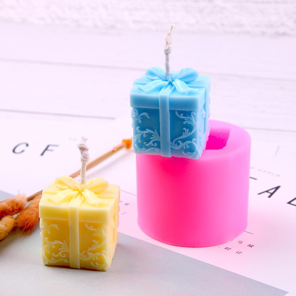 Molde de silicona de vela 3D molde de regalo de Navidad forma de caja de jabón DIY Aroma vela molde herramienta artesanal pastel Chocolate arcilla manualidades arte molde