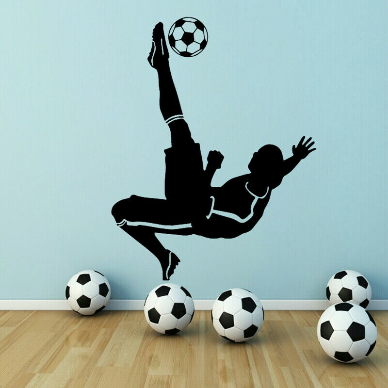 Fútbol Goal Kick pegatina Pared de fútbol jugador boca abajo shot vinilo pared pegatina calcomanías chicos chico habitación deportes pared decoración G389