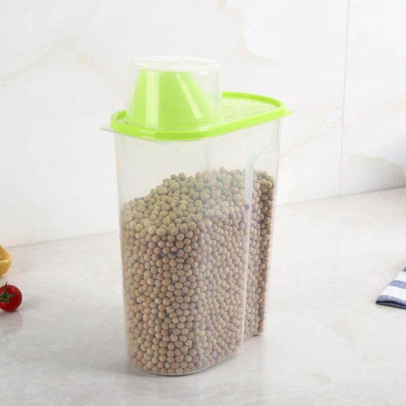1PC 1.8L 2.5L Plastic Food Storage Box Sealed Crisper Grains Tank Storage Kitchen Sorting Food Storage Box Container OK 0346