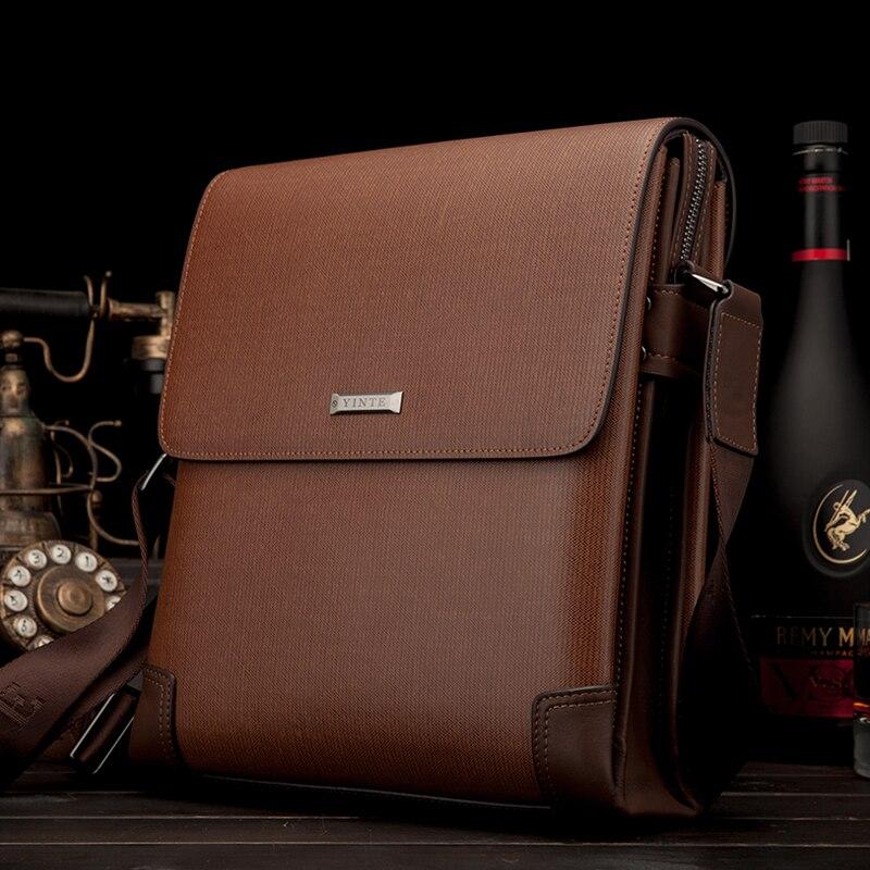 YINTE جلد الرجال رسول أكياس البني حقائب الكتف الأعمال Crossbody حقيبة غطاء الرجال أكياس محفظة T8369-2