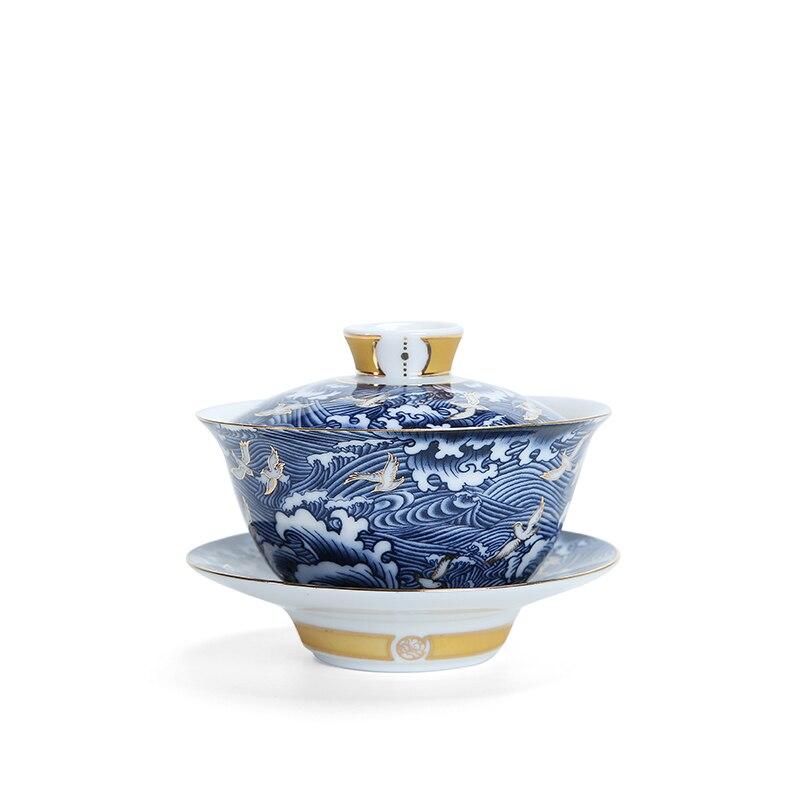 Cuenco de cerámica con tapa, porcelana gaiwan, taza de té chino de Kongfu Gaiwan, juego de teteras de cerámica de tradición china Gaiwan,