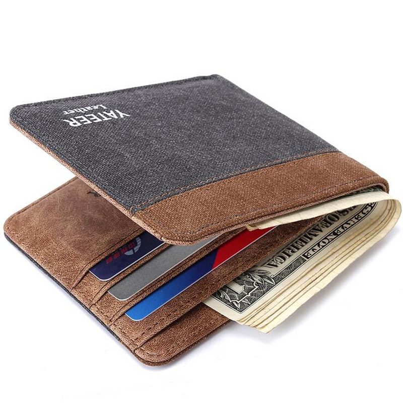 Cartera de lona de diseño corto con cuero para hombre, cartera para hombre, tarjetero para tarjetas de crédito