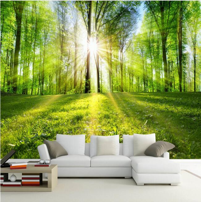 Mural personalizado papel bosque soleado Pared de paisaje natural pintura sala de TV papeles de pared de fondo casa decoración de la pared