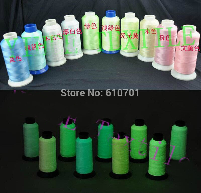 White Green Yellow Pink Blue Glow In The Dark Thread Machine Embroidery Thread,Extra Glow Yarn, 3300 Yards 3000M Spool 120D/2
