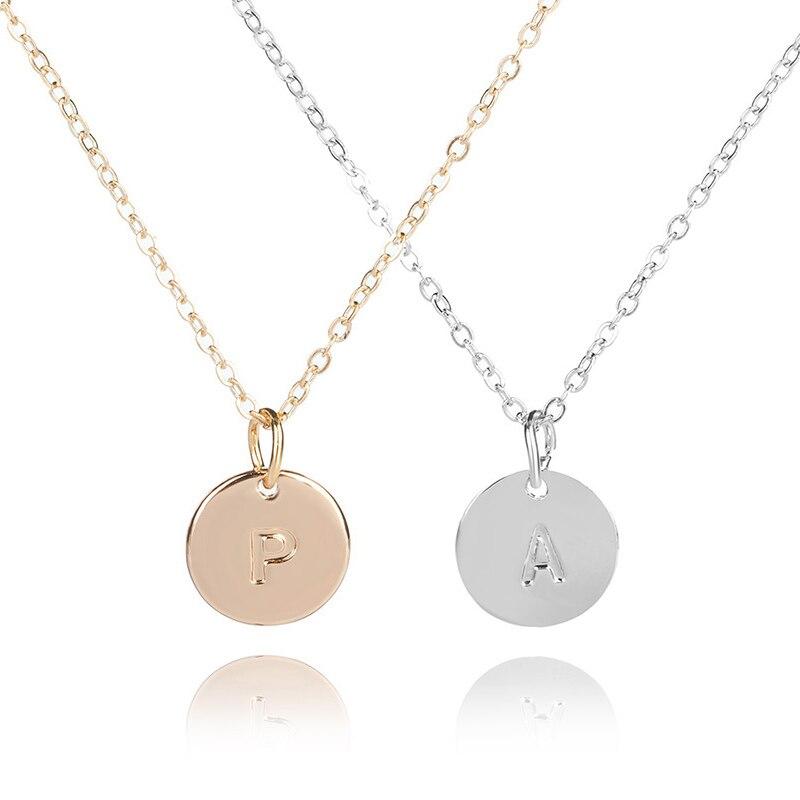 Sale 26 Letters Initial Necklace Silver Gold Color Disc Necklace Alphabet Women Collier Friends Family Letter necklace
