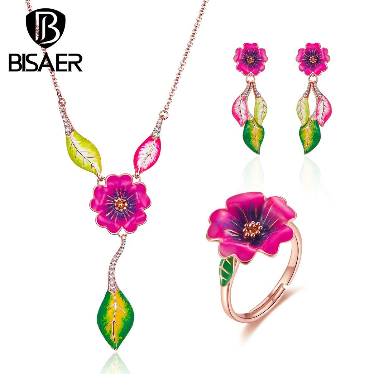 Conjunto de joyería elegante de 3ps de BISAER, joyería de Rosa en llamas, pendientes y anillos y collares para mujer, juego de joyas de lujo HPS177