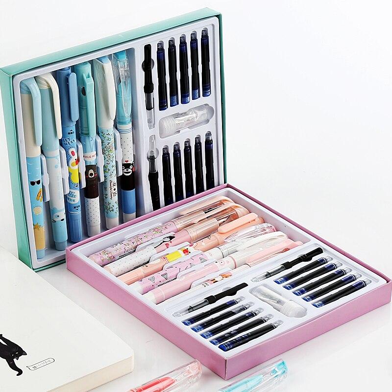 El mejor regalo de Navidad para niños estudiantes postura correcta pluma estilográfica juego incluye borradores de cartuchos de tinta pluma convertidores
