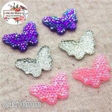 20 pièces/lot brillant AB couleur résine strass papillon flatback cabochon pour bricolage artisanat décoration de mariage
