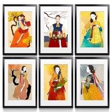 Impresiones artísticas para pared, póster nórdico Hd Retro, cuadro elegante, decoración de acuarela coreana para mujeres en Hanbok Giclee, lienzo para regalo de hogar