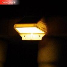 CHINCOLOR 4 LED solaire mur LED capteur de lampe Auto étanche blanc chaud blanc RGB pour escalier extérieur poste jardin clôture Yard CA