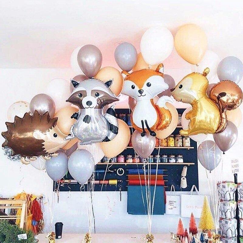 1 unidad de globos grandes de zorro erizo y ardilla de papel de aluminio decoraciones para fiesta de cumpleaños para adultos BabyShower decoración bolas de juguete para niños