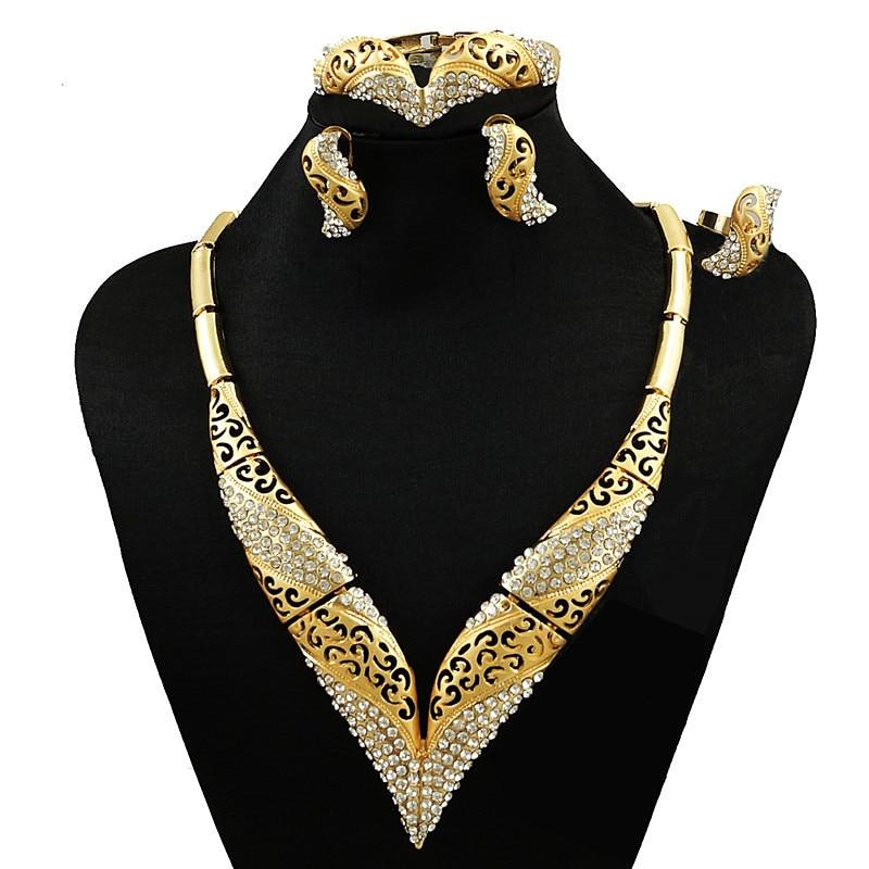 Conjuntos de grandes joyas africanas, conjuntos de joyas de oro con piedras para fiesta, conjunto de joyas para mujer, collar, conjuntos de joyas nupciales