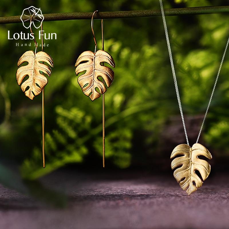 لوتس متعة ريال 925 فضة اليدوية الجميلة مجوهرات الإبداعية Monstera يترك تصميم طقم مجوهرات للنساء بيجو