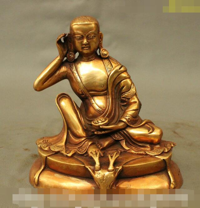S5012 6 Tibet Tantra budismo templo bronce dorado Milarepa Buda asiento cabeza de ciervo estatua