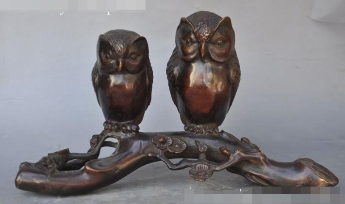 """S01728 11 """"china fengshui bronze escultura estátua animal dois night owl pássaro plum blossom"""