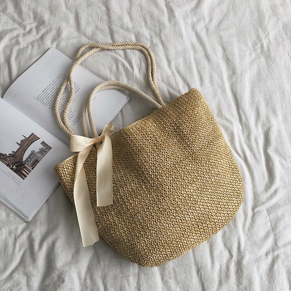 2019 Beach Boho Style Women Fashion Ribbon Bowknot Straw Woven Rattan Handbags Basket Shoulder Bags Large Capacity Casual Totes