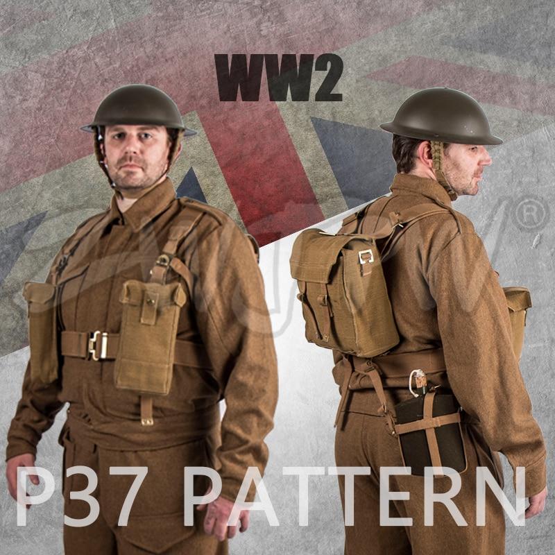 WWII WW2 UK British Army P37 SUITS & EQUIPMENT Winter uniform Woolen soldiers Coat & Pants & EQUIPMENT&HELMET