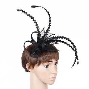 Ladies New Black Hats Hair Fascinators Female Fancy Feather Millinery Derby Wedding Women Headwear Hairpins Fashion Accessories