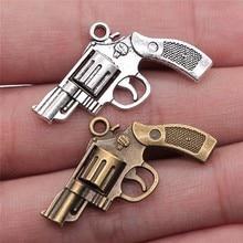 WYSIWYG 8pcs 29x22mm 2 Colors Antique Silver Color Antique Bronze Plated Gun Charm Revolver Charm Gun Pendants