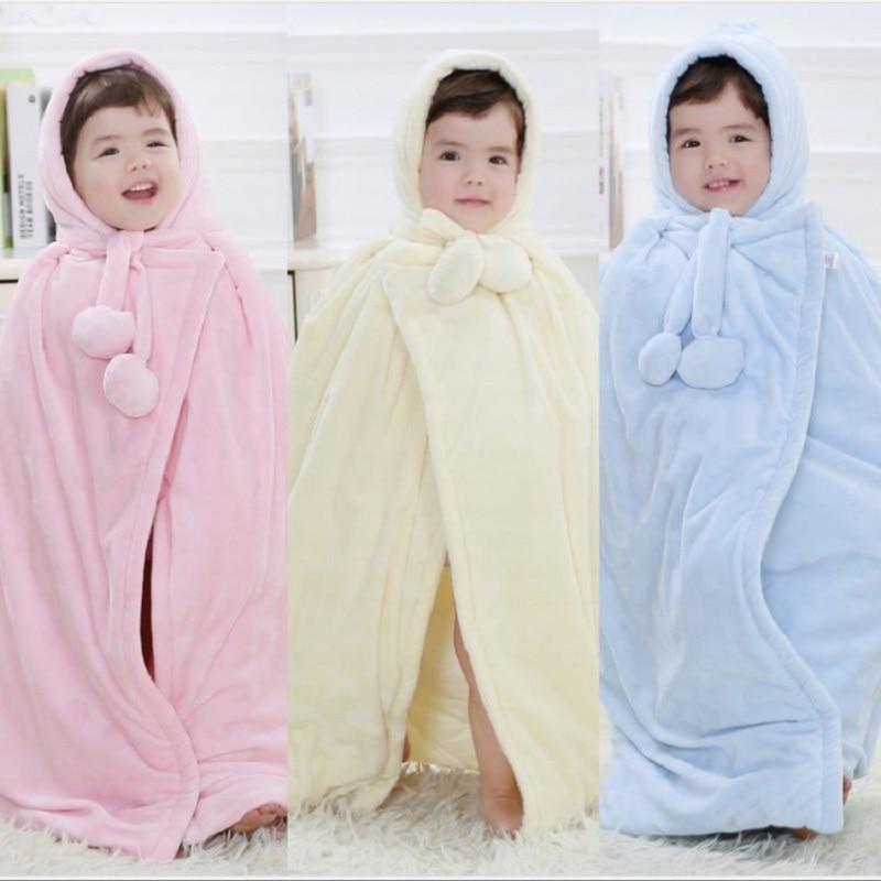 Бархатный флисовый детский плащ, толстый Халат для новорожденного мальчика, одежда для девочек, детские пальто, одеяла с капюшоном, мягкое б...