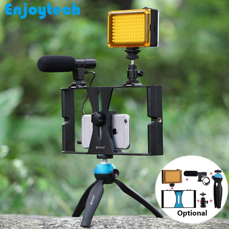 Ручной штатив-Стабилизатор со светодиодной подсветкой, микрофон для телефонов Iphone, Android, подставка для записи, фотографии, видео, Steadicam