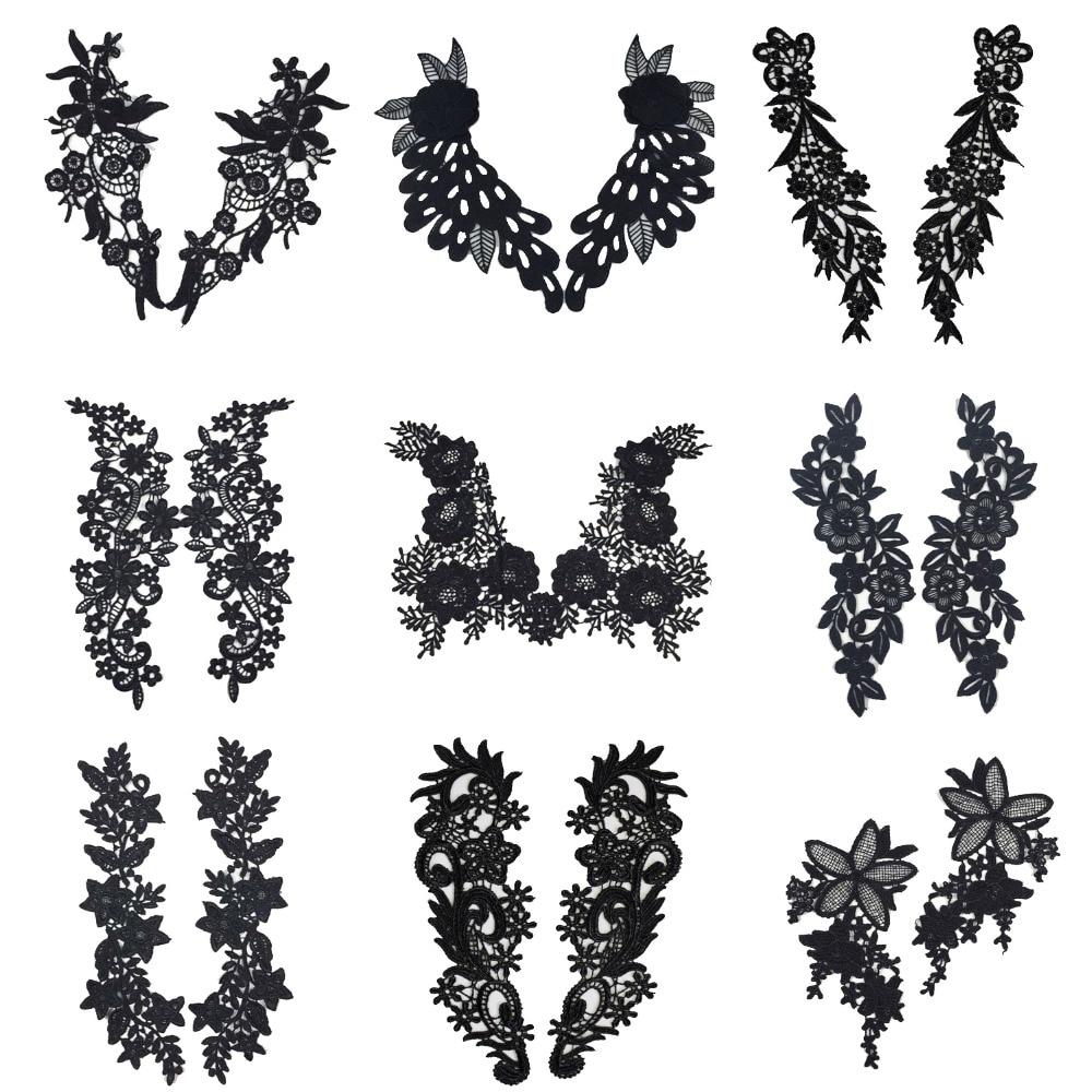 1 Juego de bordado Venise negro lazo flor Rosa Cuello, cuello DIY telas de encaje para manualidades de costura parche Scrapbooking