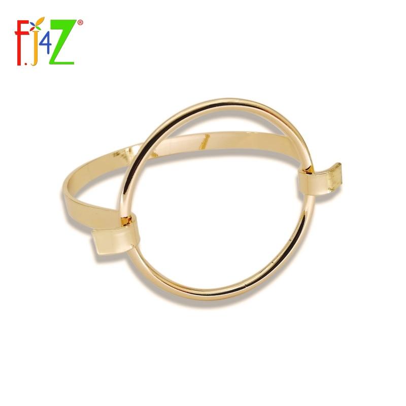 F.J4Z модный рок-н-ролл простота большой круг Гео Браслеты & Браслеты для Для женщин pulseiras de couro