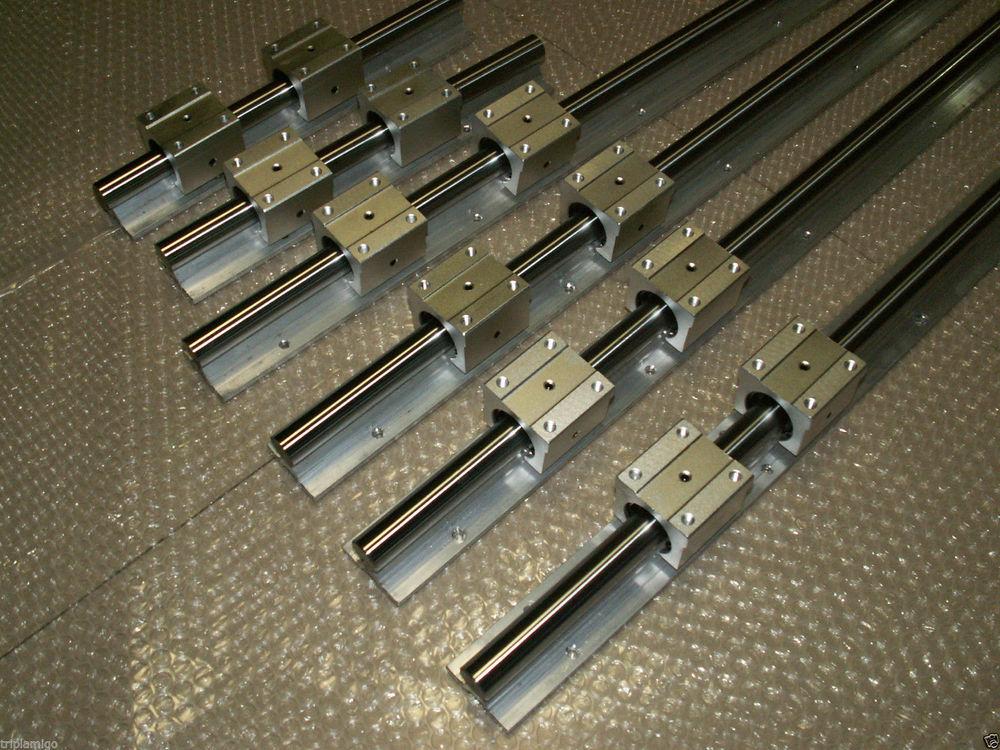 2 piezas SBR25-L1000/1300mm carril lineal + 4 piezas SBR25UU bloque de rodamiento para cnc