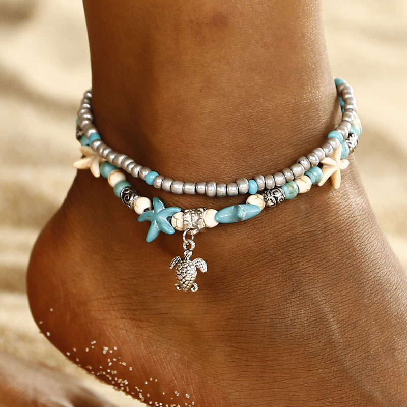 Boho Ethnic Antique 2 Layer Ankle Bracelet Cute Starfish Cuckold  Foot Chain For Women Summer Beach Jewelry Tornozeleira