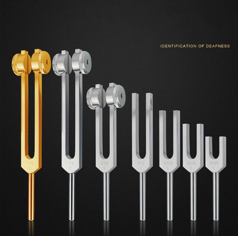 128HZ/2048Hz/1024/512hz/256HZ sintonización médica neurológica juegos de tenedores con bolsa y martillo, para terapia de sonido cuidado relajante de oído