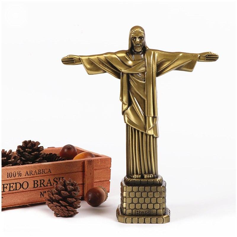Estatua de Cristo Redentor de bronce, cruz cristiana, edificio conocido arquitectura emblemática decoración del hogar-Brasil-estatua de Cristo