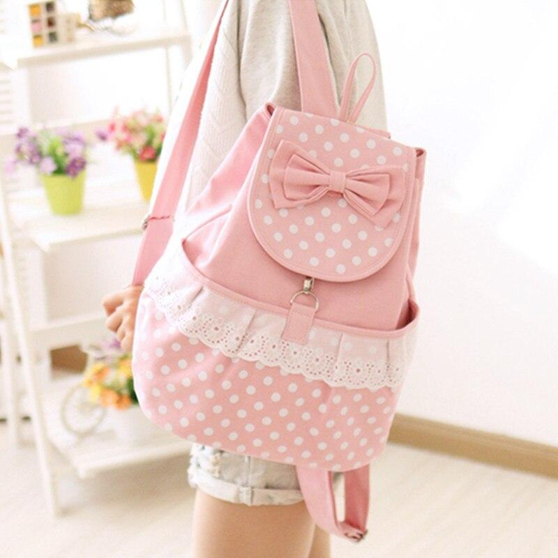 Милый рюкзак в японском стиле в горошек с кружевом и бантом, Повседневная холщовая школьная сумка для подростков, корейские рюкзаки в стиле ...