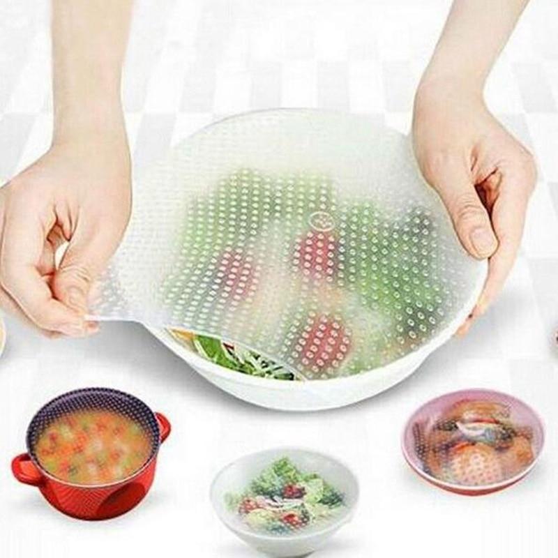 4 unids/lote de silicona reutilizable para envolver alimentos frescos para mantener la cubierta de la tapa del envoltorio al vacío para alimentos herramientas de cocina