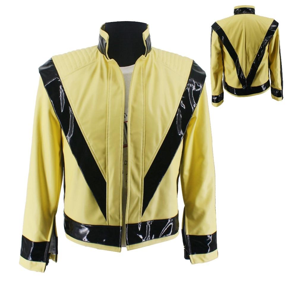 WOW raro MJ Michael Jackson Thriller luz amarillo abierto PU chaqueta clásica en concierto Perfromance