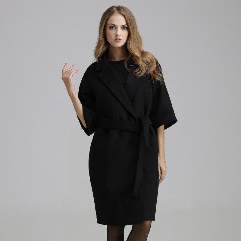 Negro mujeres chaqueta Cachemira bealted doble capa femenina media manga larga Outwear moda elegante manteau